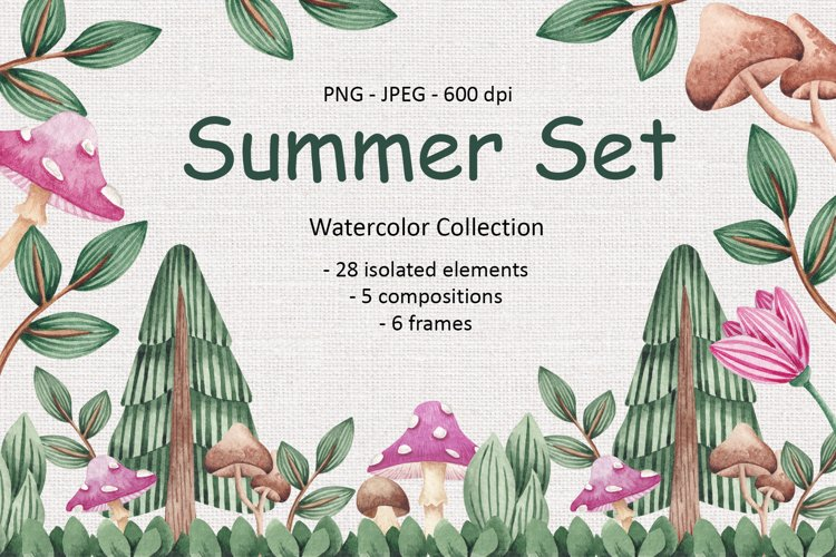 Watercolor Summer Set example image 1