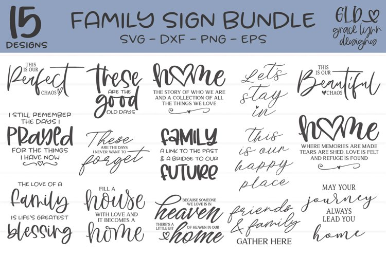 Family Sign Bundle - 15 Family Designs example image 1