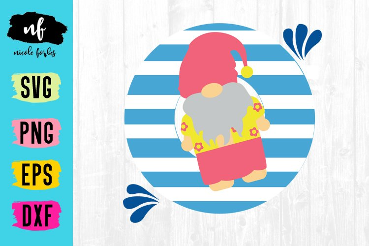 Summer Gnome SVG Cut File example image 1