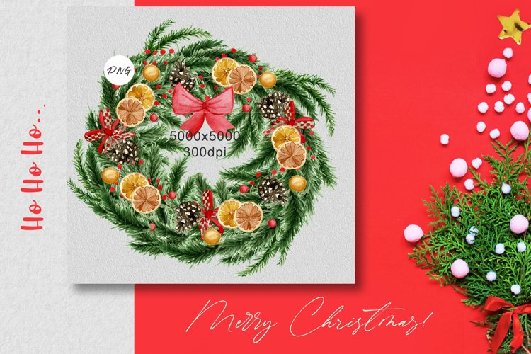 Watercolor christmas green coniferous wreath with decor PNG