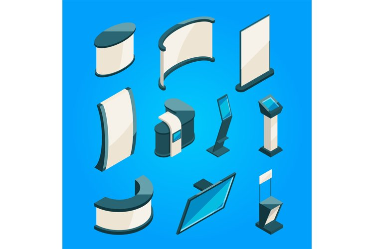 Expo trading. Product stands for exhibition. Isometric vecto example image 1