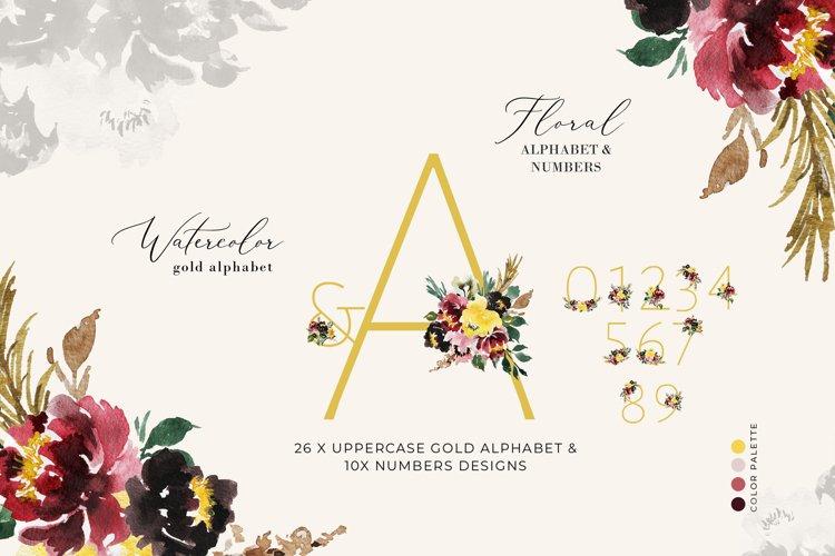 Watercolor Alphabets Monogram Gold Alphabet Flower Letters