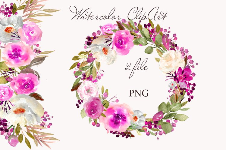 Purple Flowers Clipart Watercolor Wreath