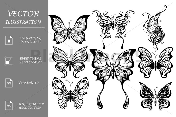Silhouettes of Exotic Butterflies ( Tattoos ) example image 1