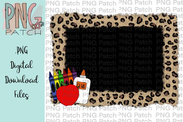 Torn Edge Leopard Print Frame with School Supplies, PNG File example image 1