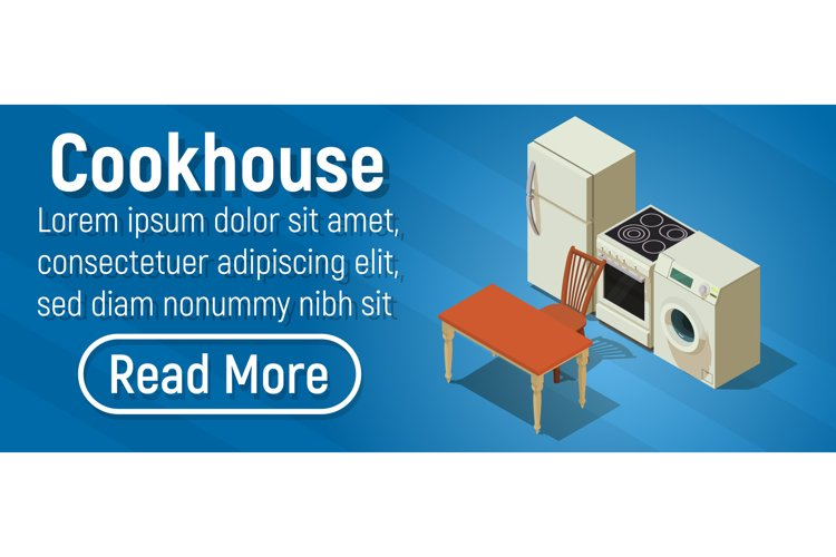 Cookhouse concept banner, isometric style example image 1