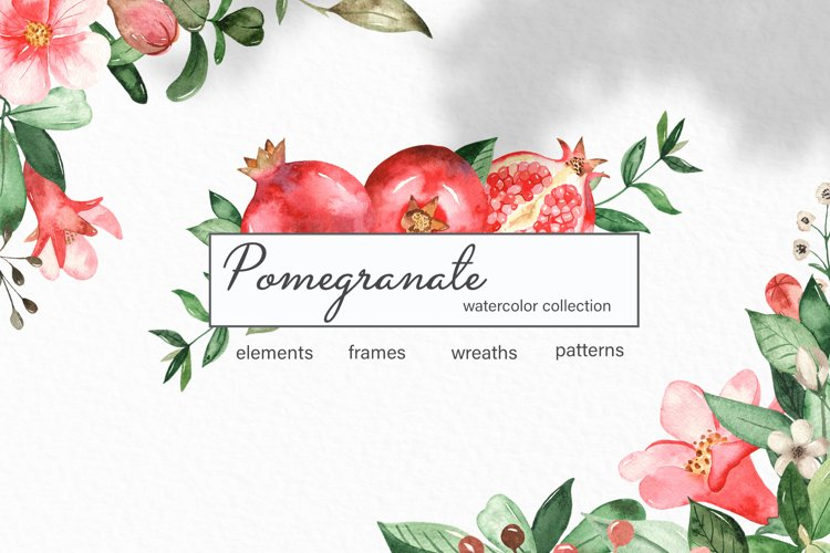 Watercolor pomegranate. Clipart, frames, wreaths, patterns