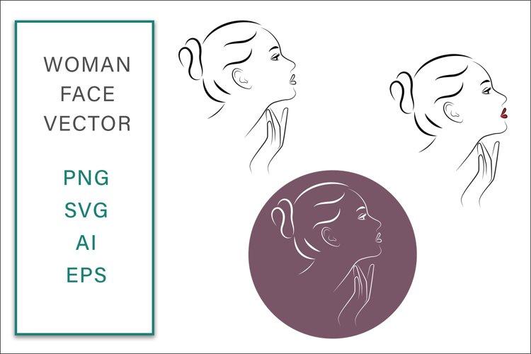 Feminine Face Vector Line Art Graphic SVG Woman Illustration example image 1