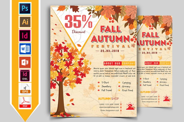 Autumn Fall Flyer Template Vol-03 example image 1