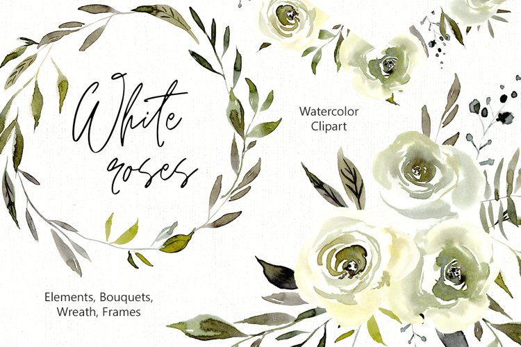 Watercolor White Roses Flowers Png example image 1