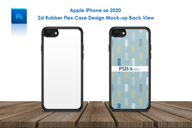 iPhone se 2020 2d Rubber Flex Case Design Mockup Back