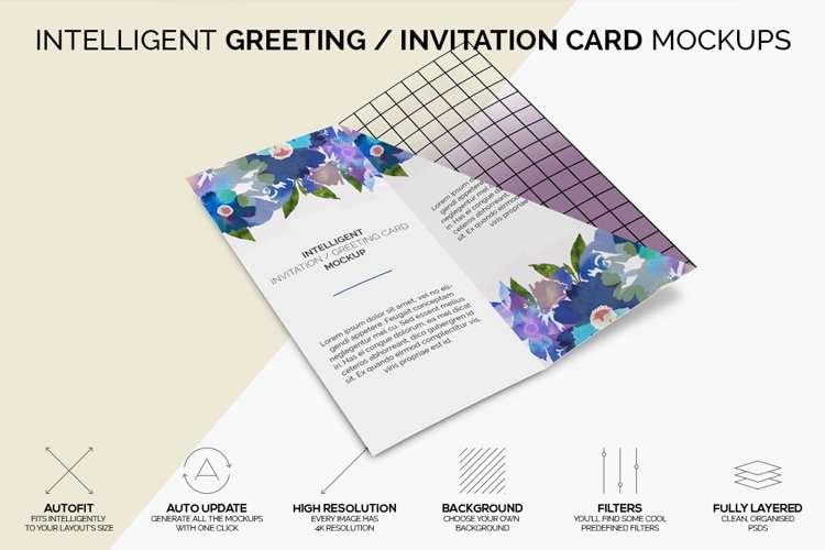 Intelligent Invitation / Greeting Card Mockup example image 1