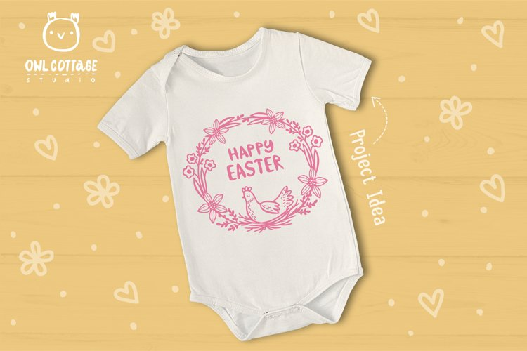 Easter Wreath with Hen svg, Easter Floral Monogram, Easter example 8
