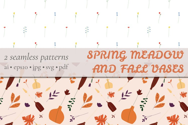 Spring Meadow and Fall Vases Flowers Digital Paper