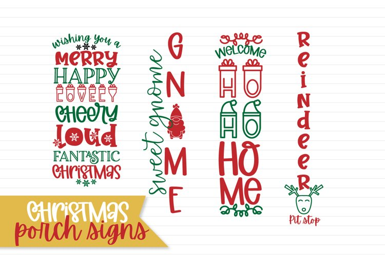 Vertical Christmas Porch Sign Designs - Mini Bundle example image 1