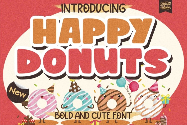 Happy Donuts - Bold and Cute Font example image 1
