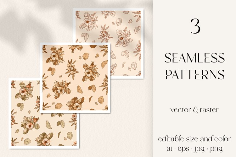 Cosmetic florals seamless pattern, vector rose hip, almond