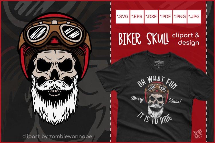 Biker Skull SVG, Christmas SVG, Retro Biker T-Shirt Design example image 1