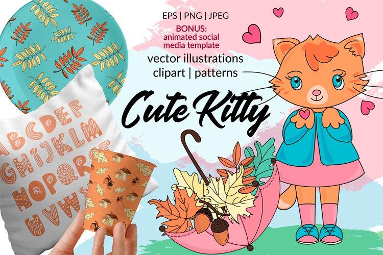 CUTE AUTUMN KITTY Clipart Pattern Alphabet Vector Animation example image 1