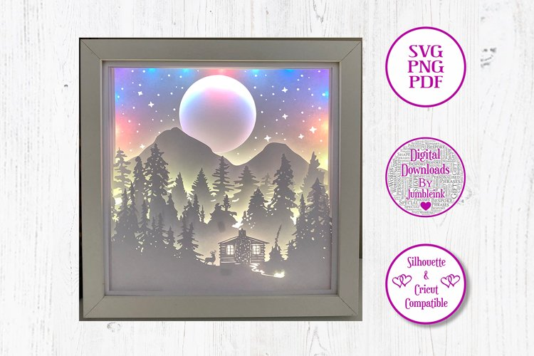 Mountainside Forest Cabin - 3D Paper Cut Template Light Box example image 1