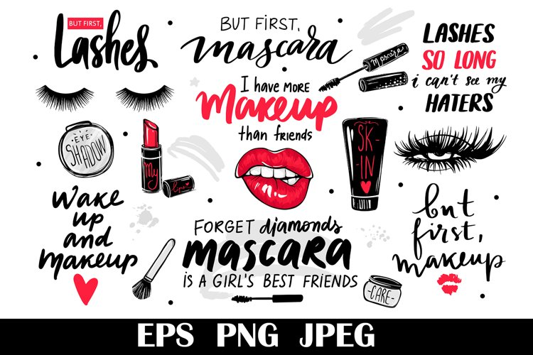 Make up cosmetics, lashes clipart, beauty quotes, makeup