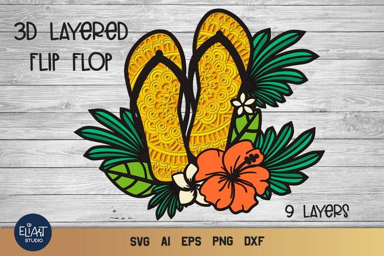 Flip Flops SVG   3d Layered SVG Summer   Beach SVG