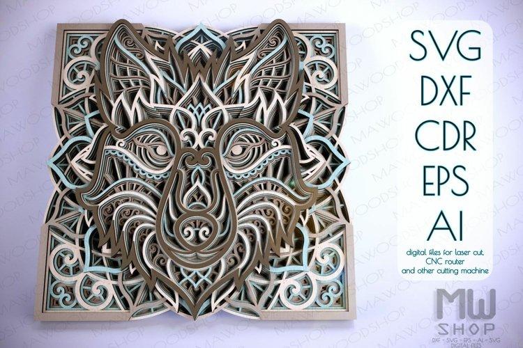 Layered Wolf Head Mandala SVG, Layered Wolf DXF - A05