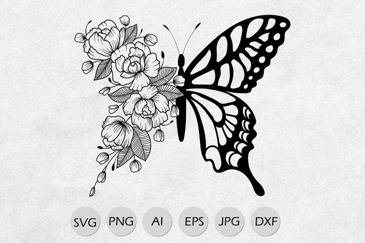 Butterfly with floral wing svg line art