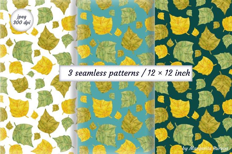 Watercolor pattern of autumn leaves. Digital Paper