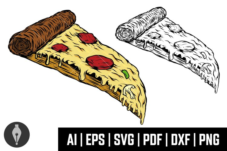 Pizza illustrations in engraving style. Svg, Png, Eps, Ai