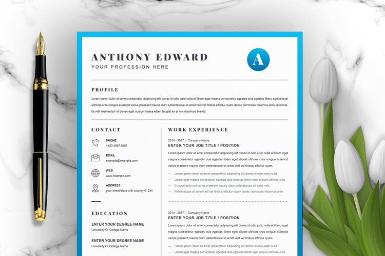 4 Pages Modern Resume / CV Template
