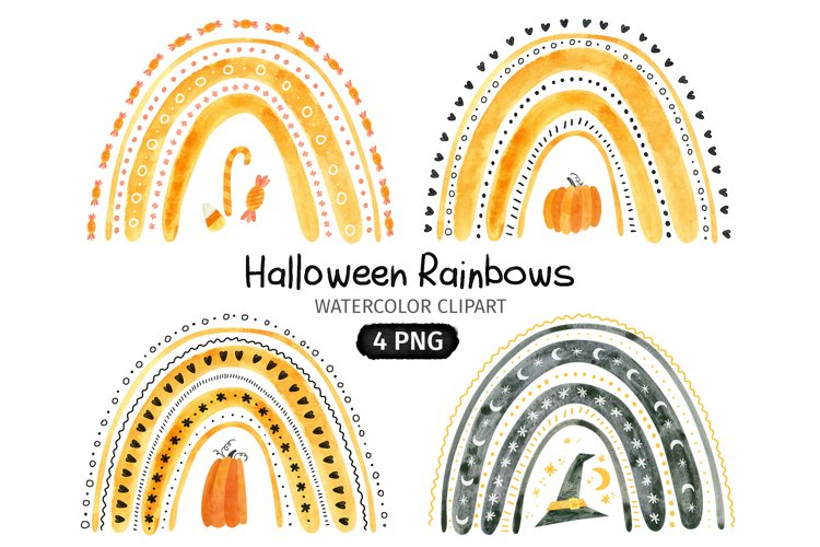 Halloween watercolor clipart, Rainbow and Pumpkins PNG