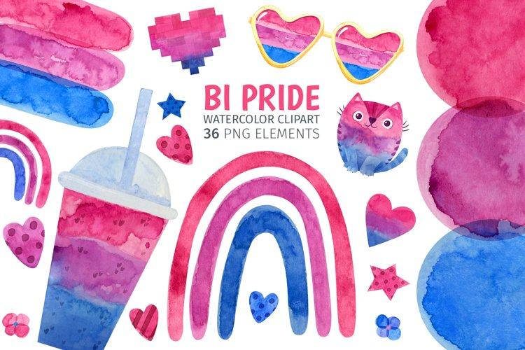 Bi pride watercolor clipart for bisexual pride print