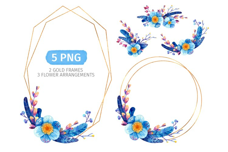 Blue floral wreaths, Invitation template for winter wedding