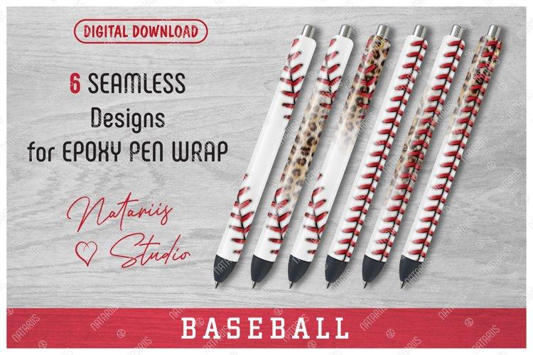 6 Seamless Baseball Patterns for Epoxy Pen Wrap