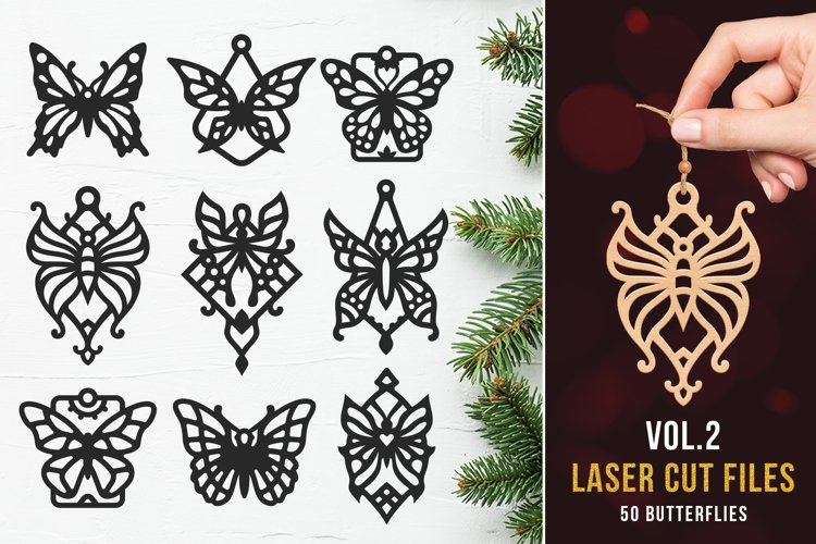 Laser Cut Files Vol.2 - 50 Butterfly Ornaments Bundle example image 1