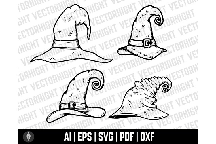 Witch Hat Clipart SVG, Wizard Hat Shape Ai, Eps, Pdf, Dxf. example image 1