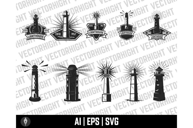 Lighthouse Clipart, Lighthouse Svg, Eps, Ai. Lighthouse Set