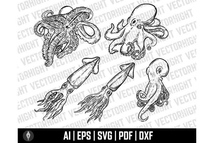 Octopus SVG, Squid Shape Ai, Eps, Pdf, Dxf. Octopus, Squid