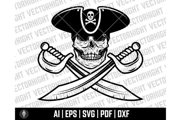 Pirate Skull in Hat, Pirate Sabers, Pirate Clipart, Pirate example image 1