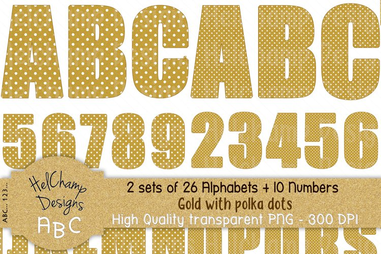 2 sets of 26 letters and10 numbers Gold and dots -AL001