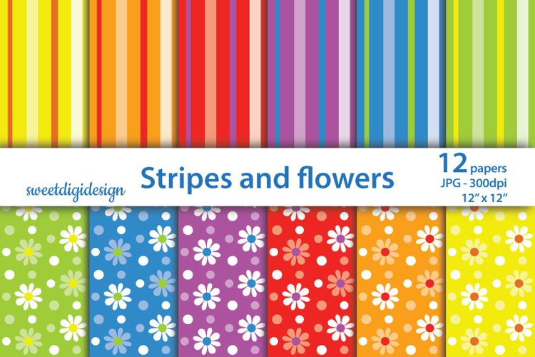 Flowers and stripes background, seamless pattern example image 1