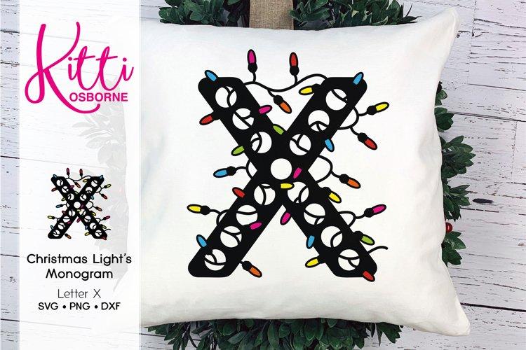 Christmas Lights Monogram Letter X