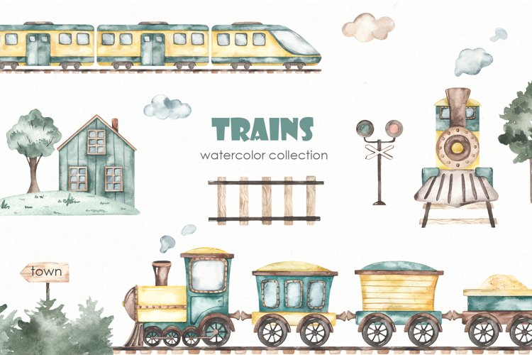 Trains watercolor collection example image 1