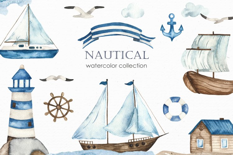 Nautical watercolor collection example image 1