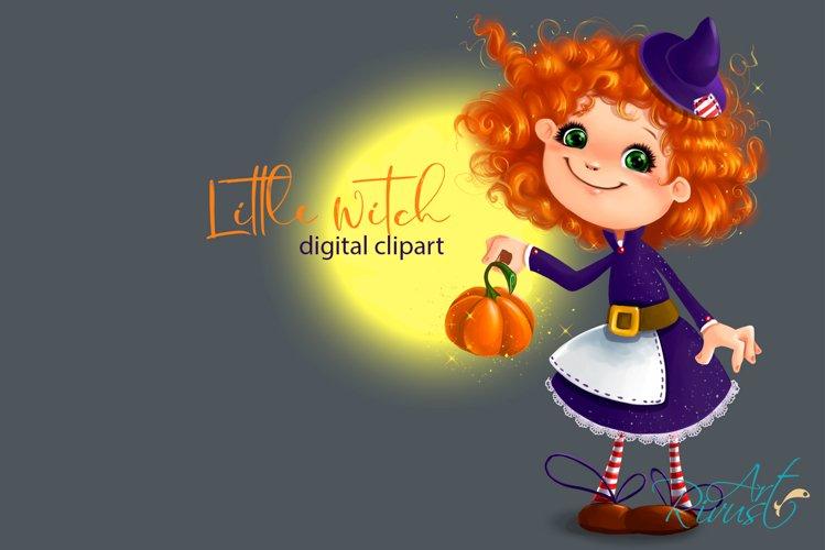 Cute Halloween Little Witch clipart. Pumpkin, fall clipart.