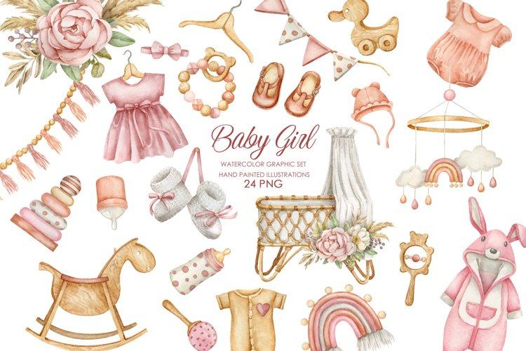 Watercolor boho nursery clipart. Baby girl clipart.