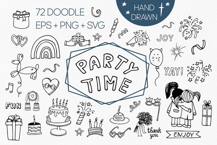 Big birthday SVG set. Party time, celebration doodle clipart