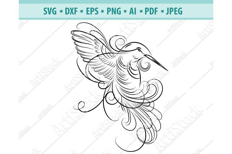 Hummingbird SVG, Hummingbird Wreath svg, Bird Dxf, Png, Eps example image 1
