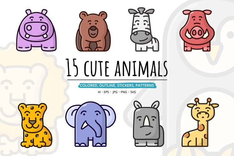 15 cute animals set clipart example image 1